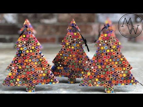Incredible Christmas Tree Ornaments Made From Colored Pencils! // DIY Woodworking