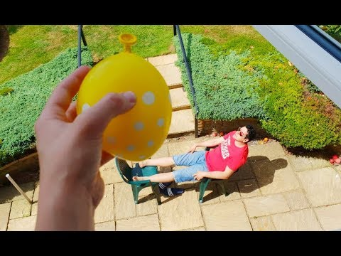 Falling Water Balloon - Kids Have Fun with Dad