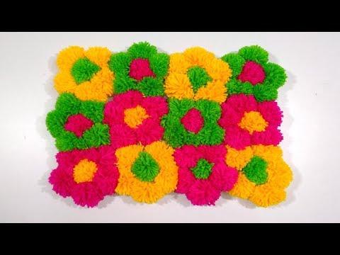 DIY - Beautiful door mat and  Floor mat with  woolen flowers easy doormat diy pom pom blanket