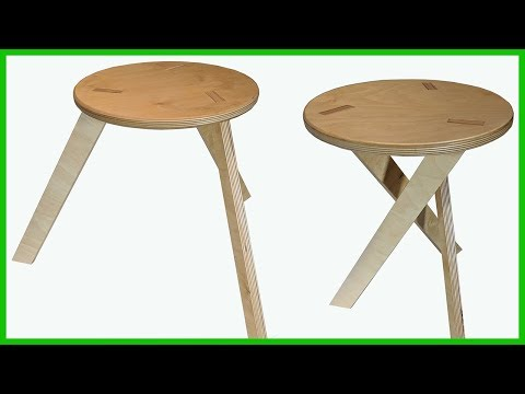Collapsible Wooden Stool with 3 Legs