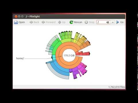 Filelight, display disk usage graphically for Linux