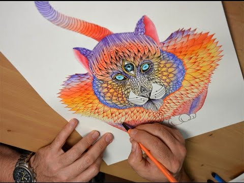 Art Lesson:  How to paint an Intricate Tiger with Waterbrushes and Ink