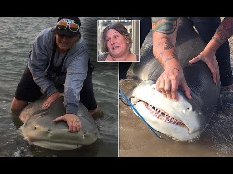 The Gold Coast mum who catches 'monster sharks' for fun