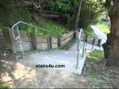 Concrete Stairs And Wood Retaining Walls - Landscaping Ideas