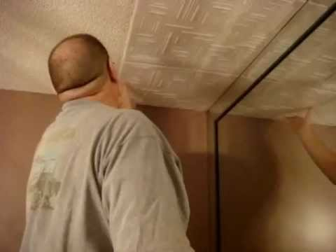 Do-it-Yourself - DIY - Foam Ceiling Tiles Installation over Popcorn Ceiling