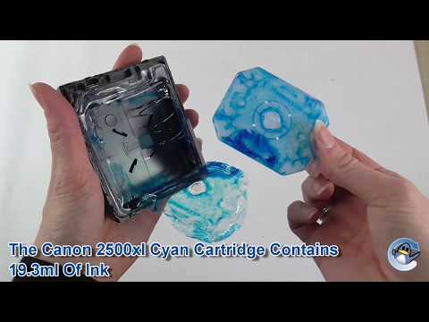 Inside Canon 2500XL Cyan Cartridge.