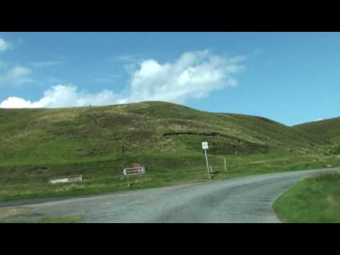Driving in Unst on Shetland towards Burra Firth
