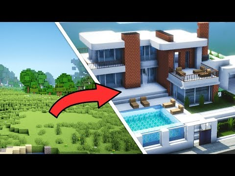 Minecraft: Epic Transformation from 0 to 100% Completed Modern House with Interior (2h in 15 mins)