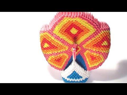 3d origami pink peacock tutorial