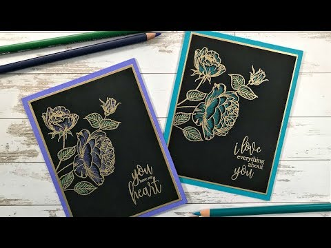 Lacquerware Inspired Hearts & Flowers Card