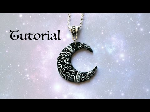Ornate Crescent Moon DIY Pendant | Polymer Clay Jewelry / Jewellery Tutorial