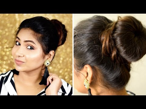 High Bun Hairstyle With and Without Donut | Learn Donut Stuffing | Rabia Skincare