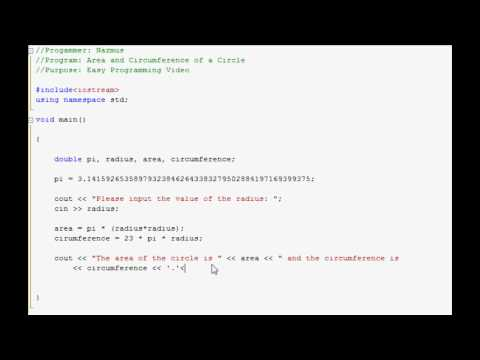 Easy Programming - C++ - Area & Circumference of a Circle (6)