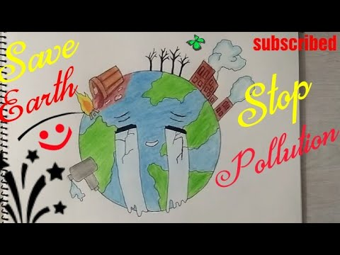 How to Draw Save Earth poster step by step || Save Trees, Save Environment drawing for kids ||