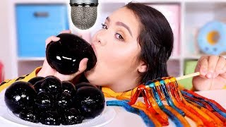 Download i Tried ASMR.. Eating Black Jelly Grapes, Slime + More! (sticky crunchy sounds) Video