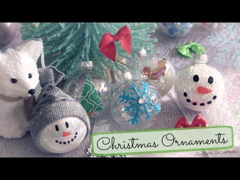 DIY Holiday Ornaments - Decorating Christmas Bulbs - 8 Easy Designs