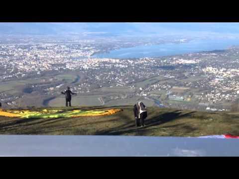 Parachuting Off a Mountain Near Geneva