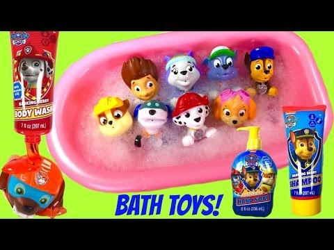 Paw Patrol Bath Toys Soap Shampoo and Bubbles! Bath Squirters & Paddling Pups