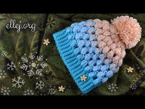 "How to Crochet ""Scarlet Sky"" Baby Puff Stitch Hat • Free Step by Step Crochet Tutorial"