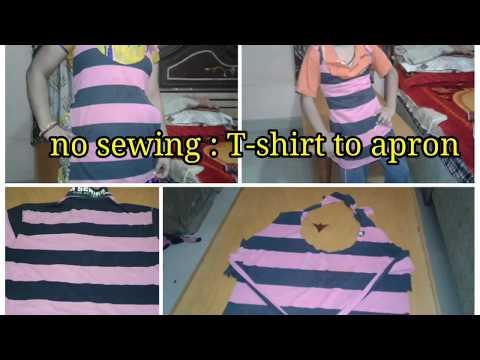 No sewing : old T-shirt to apron...DIY