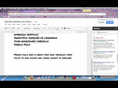How to use Research and footnote tools in DOCS (Social Studies Class)