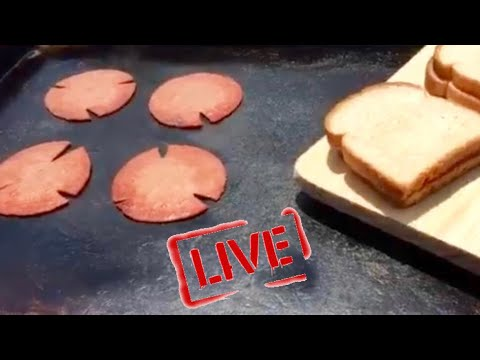 BLACKSTONE OLD FASHION FRIED BOLOGNA SANDWICH ON A FLAT TOP GRIDDLE