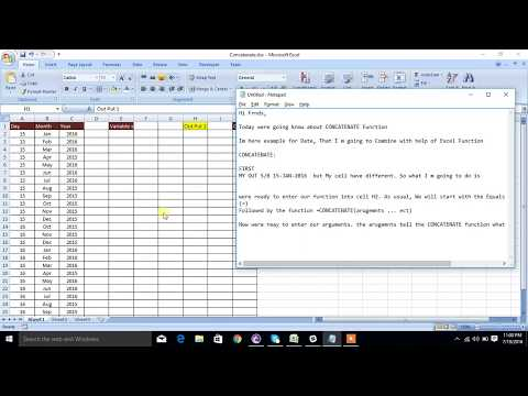 Excel Functions - Tutorial -  CONCATENATE to Join Cells Date & Date Format