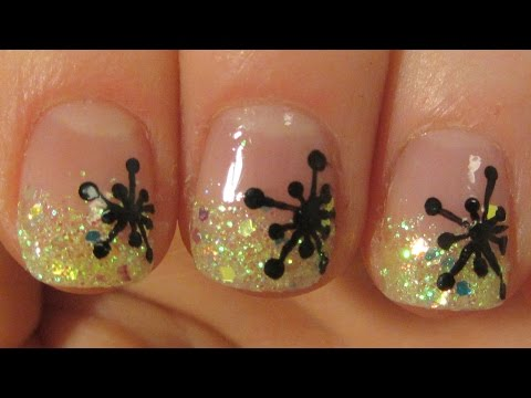 New Year 2015 Black Snowflakes and Gradient Yellow Glitter Nail Art Tutorial