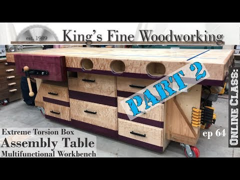 64 - Extreme Torsion Box Assembly Table Part 2 Outfeed & Multifunction Workbench w Storage