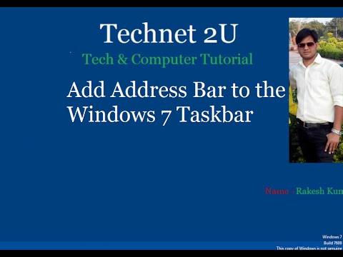 How to Add Address Bar to Windows 7 Taskbar