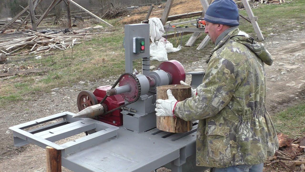 Механический дровокол в работе. Три в одном/Mechanical wood splitter at work. Three in one