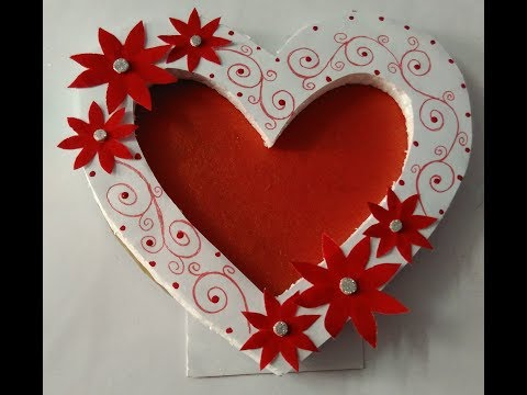 How to make beautiful photo frame||heart shape photo frame||easy and simple photo frame