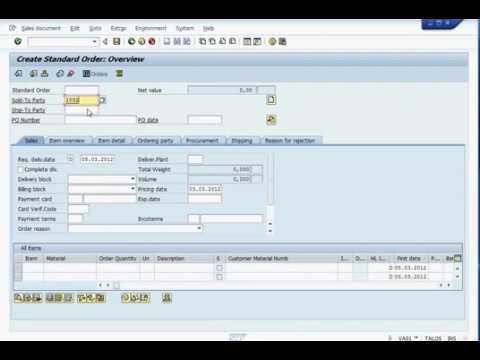 SAP SD Sales Order