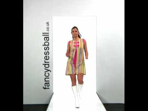 70's Striped Go Go Girl Dress Ladies Fancy Dress Costume