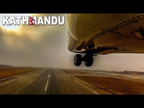 Takeoff through the clouds of Kathmandu NEPAL
