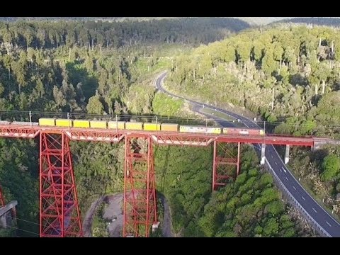 Spectacular drone aerials of train on Viaduct   New Zealand
