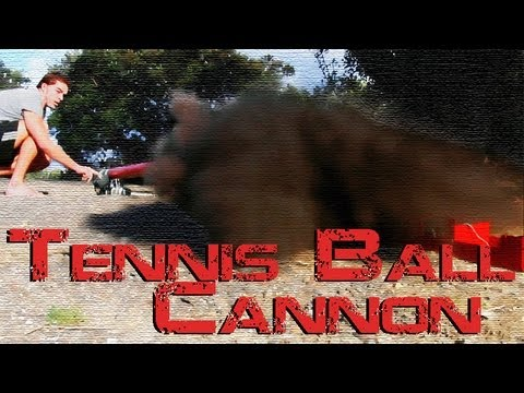 Tennis Ball Fired from Piston Hybrid Cannon