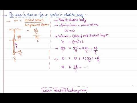 Poisson's Ratio of a Perfect Elastic Body in Mechanical Properties of Solids for IIT-JEE and NEET