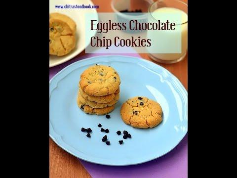 Eggless chocolate Chip cookies recipe - Crispy, crunchy chocochip cookies