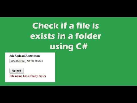 Check if a file is exists in a folder using C#