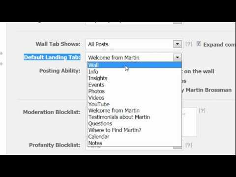 Facebook for Business tip on Wall Tabs Show.and Default Landing Tab by Martin Brossman