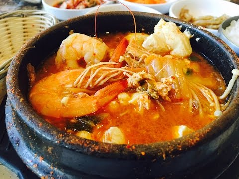 Eating Hot and Spicy Seafood Kimchi Tofu Stew [Jjigae] Experience