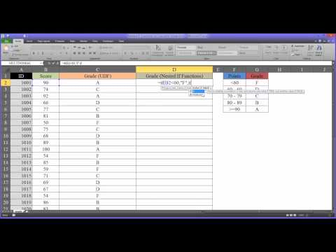 Nested IF Functions to Calculate Grades in Excel