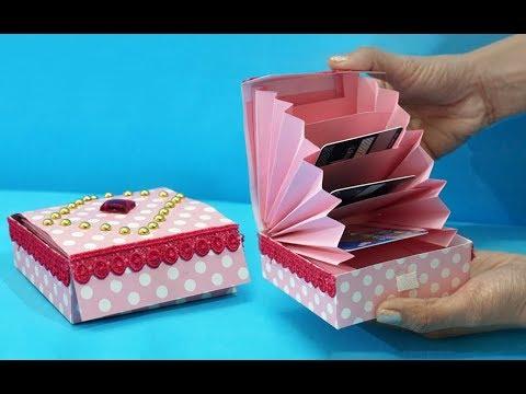 DIY Paper Crafts: Easy Magic Paper Gift Box DIY   Accordion Cardholder Ideas   StylEnrich Crafts
