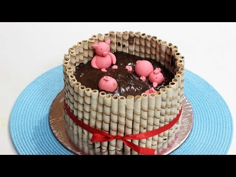 Pigs in Mud Cake - Cake Idea for Kids Party by barnaliskitchen