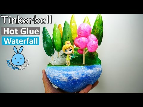 Hot Glue Waterfall Tutorial Tinkerbell in Low Polygon fairy Forest DIY Newspaper Paperweight