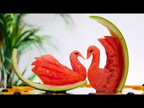 SWAN ON SLICE OF WATERMELON  | Fruit Carving Art Tutorial