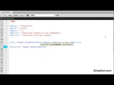 MySQLi Tutorial - Learn how to Connect to a Database Using MySQLi in Dreamweaver CC