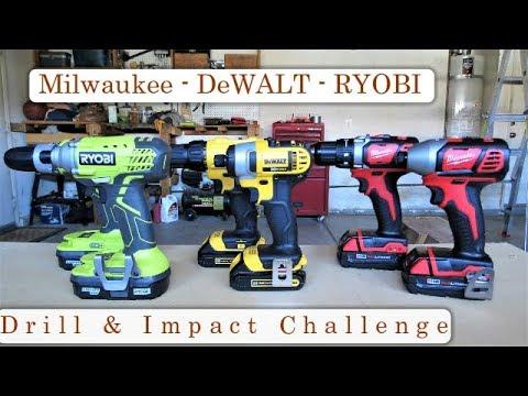 7 Tests To Determine The Best Drill & Impact Driver | Milwaukee, DeWalt or Ryobi | Drill Challenge
