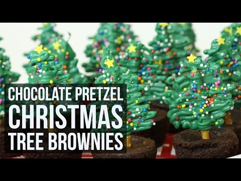 Simple & Easy Chocolate Pretzel Christmas Tree Brownies | Creative Christmas Recipe by Forkly
